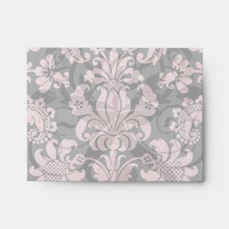 pink and black ornate fleur chic damask envelope
