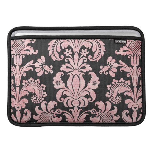 pink and black ornate fleur chic damask sleeves for MacBook air