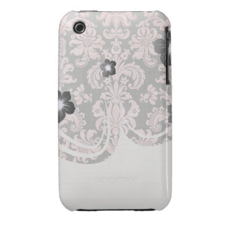 pink and black ornate fleur chic damask iPhone 3 case