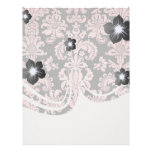pink and black ornate fleur chic damask letterhead template