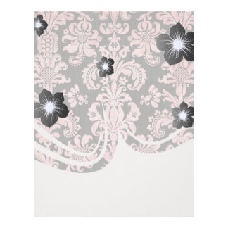 pink and black ornate fleur chic damask letterhead