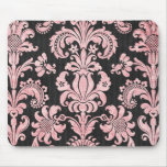 pink and black ornate fleur chic damask mouse pads