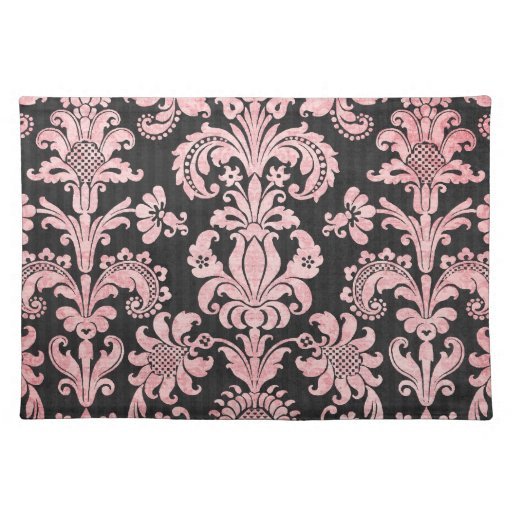 pink and black ornate fleur chic damask place mat