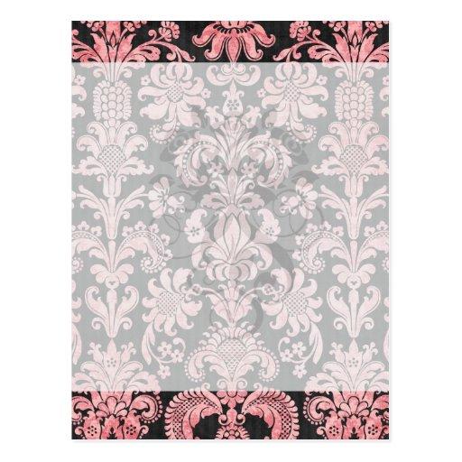 pink and black ornate fleur chic damask post cards