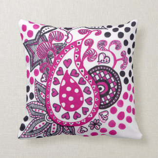 Pink and Black Paisley design cushion Throw Pillow