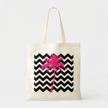 Beach Themed Pink and Black Palm Tree Tote Bag