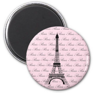 Pink and Black Paris Eiffel Tower 2 Inch Round Magnet