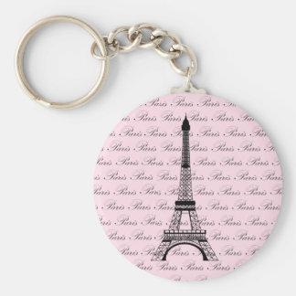 Pink and Black Paris Eiffel Tower Basic Round Button Keychain