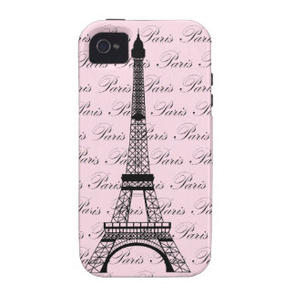 Pink and Black Paris Eiffel Tower Case-Mate iPhone 4 Cover