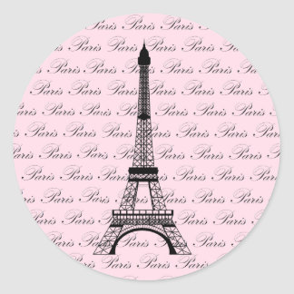 Pink and Black Paris Eiffel Tower Classic Round Sticker