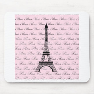 Pink and Black Paris Eiffel Tower Mouse Pad