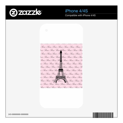 Pink and Black Paris Eiffel Tower Decals For iPhone 4S