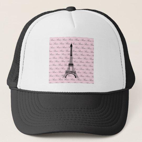 Pink and Black Paris Eiffel Tower Trucker Hat