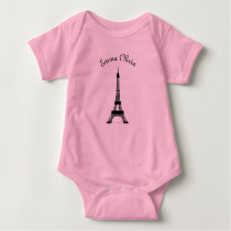 Pink and Black Paris French Theme Eiffel Tower Baby Bodysuit