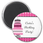Pink and Black Party Cake 2 Inch Round Magnet