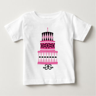 Pink and Black Party Cake Baby T-Shirt