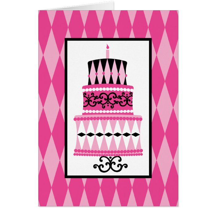 Pink and Black Party Cake Card