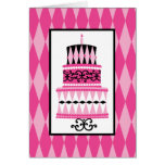 Pink and Black Party Cake Greeting Cards