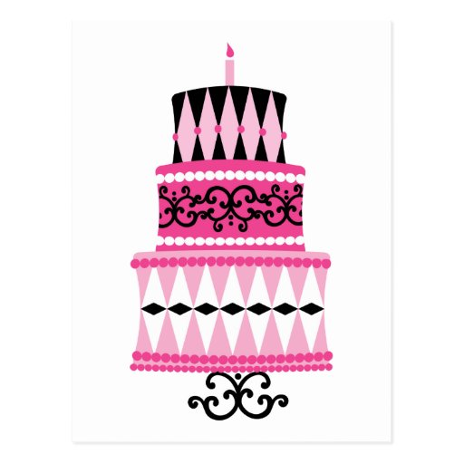 Pink and Black Party Cake Postcard