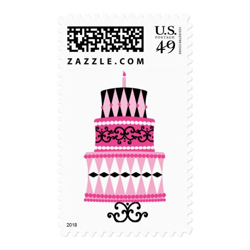 Pink and Black Party Cake Stamp