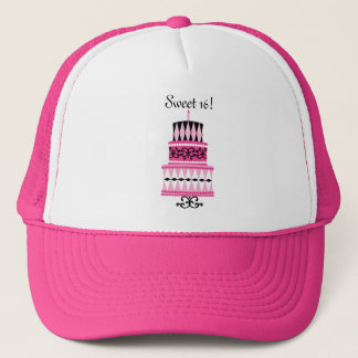 Pink and Black Party Cake Trucker Hat