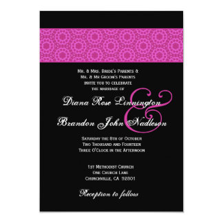 Pink and Black Pattern Wedding Card