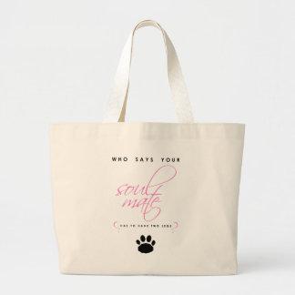 Pink and Black Paw Print Soul Mate Silhouette Pet Large Tote Bag