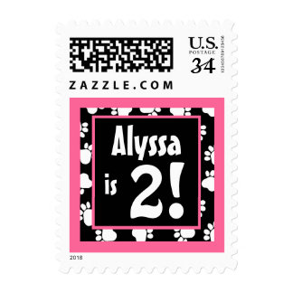 Pink and Black Paw Prints 2nd Birthday Name Postage