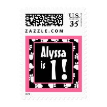 Pink and Black Paw Prints First Birthday Name Postage