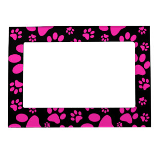Pink and Black Paw Prints Picture Frame Magnets