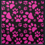 "Pink and Black Paw Prints Napkin<br><div class=""desc"">Pawprints! Pattern print with paw prints of a dog or cat in Hot pink and black.  This design has been done in vector.</div>"