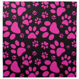 Pink and Black Paw Prints Napkin