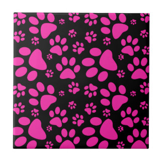 Pink and Black Paw Prints Tile