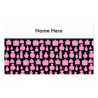 Pink and Black Perfume Bottle Pattern. Business Cards