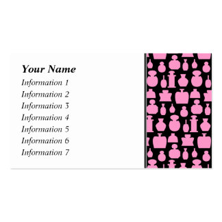 Pink and Black Perfume Bottle Pattern. Business Card Templates