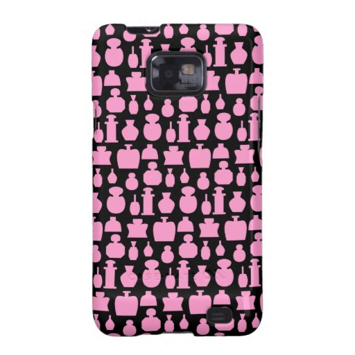 Pink and Black Perfume Bottle Pattern. Samsung Galaxy S2 Cover