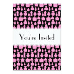 """Pink and Black Perfume Bottle Pattern. 5"""" X 7"""" Invitation Card"""