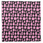 Pink and Black Perfume Bottle Pattern. Cloth Napkin