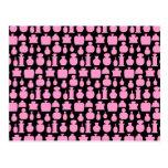 Pink and Black Perfume Bottle Pattern. Postcard