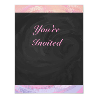 Pink and Black Personalizd 4.25x5.5 Paper Invitation Card