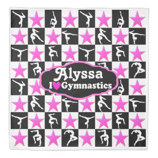 PINK AND BLACK PERSONALIZED GYMNAST STAR DUVET