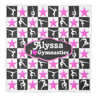 PINK AND BLACK PERSONALIZED GYMNAST STAR DUVET DUVET COVER at Zazzle