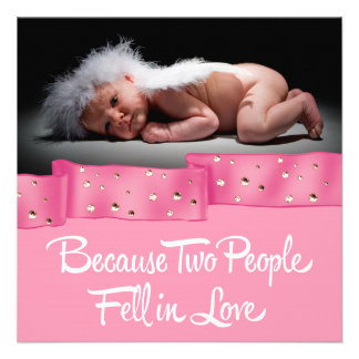 Pink and Black Photo Birth Announcement