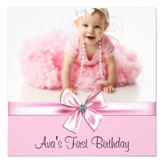 Pink and Black Photo Birthday Party 5.25x5.25 Square Paper Invitation Card