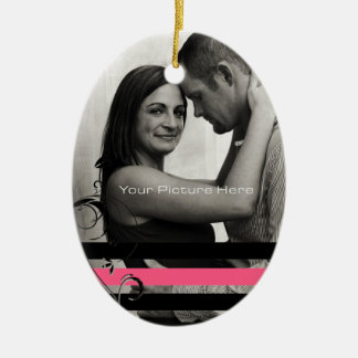 Pink and Black Photo Engagement Ceramic Ornament