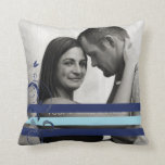 Pink and Black Photo Engagement Throw Pillows