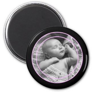 Pink and Black Photo Frame 2 Inch Round Magnet