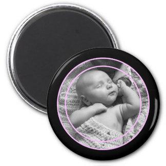 Pink and Black Photo Frame Refrigerator Magnets