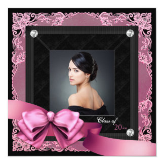 "Pink and Black Photo Graduation Announcements 5.25"" Square Invitation Card"