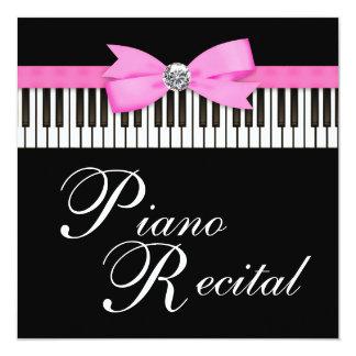 Pink and Black Piano Keys Recital Invitation